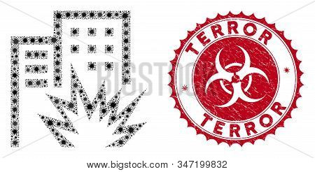Coronavirus Mosaic House Terror Icon And Rounded Corroded Stamp Seal With Terror Text. Mosaic Vector