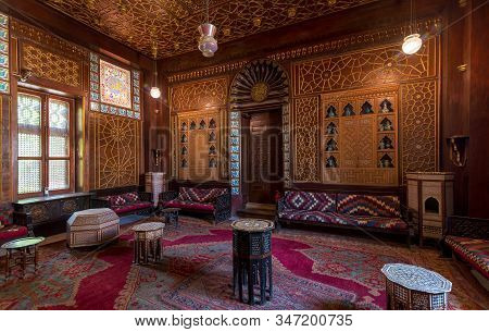 Cairo, Egypt- August 26 2018: Manial Palace Of Prince Mohammed Ali. Guests Hall With Wooden Ornate C