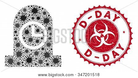 Coronavirus Mosaic Expired Grave Icon And Rounded Grunge Stamp Seal With D-day Text. Mosaic Vector I