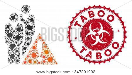 Coronavirus Mosaic Black List Icon And Round Distressed Stamp Seal With Taboo Phrase. Mosaic Vector