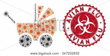 Coronavirus Mosaic Baby Carriage Icon And Rounded Distressed Stamp Seal With Avian Flu Text. Mosaic