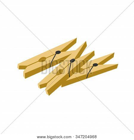 Set Of Clothespins Isolated On A White Background. Vector Flat Illustration