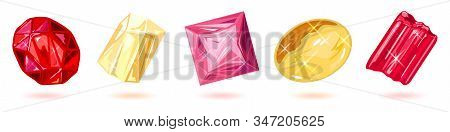 Sparkling Red, Yellow And Pink Gemstones, Minerals, Precious Stones For Jewelry And Decorations Ruby