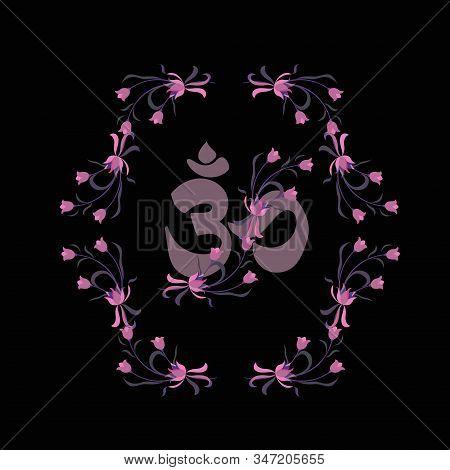 Vector Flat Background. Buddhist Symbol Ohm Vector On Dark Background. Isiteric Symbol.