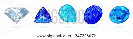 Vector Set Isolated On White With Polished Blue Colored And Transparent Minerals, Gemstones, Preciou