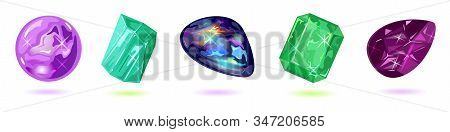 Vector Set Isolated On White With Purple, Violet, Green And Dark Gemstones, Minerals, Mascot, Amulet