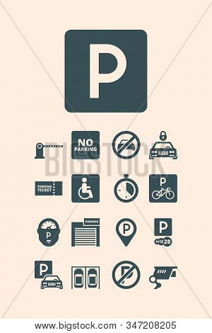 Parking Symbols. Paid Money Garage Auto Park Cars Bikes Buses Automatic Parking Systems Vector Set.