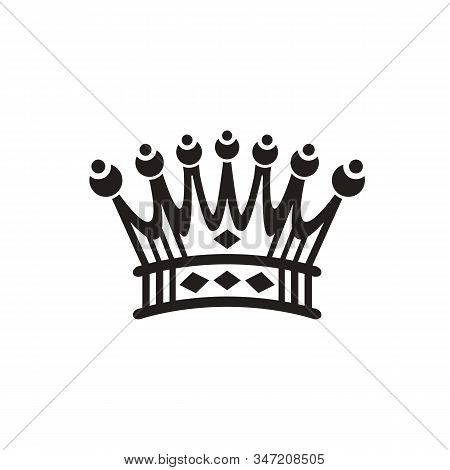 Royal Crown Silhouette. King Crowns, Majestic Coronet And Luxury Tiara Silhouettes. Royal Queens Cro