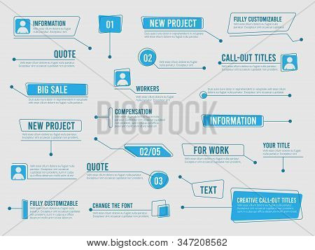 Callouts Template. Digital Info Boxes With Marketing Text Modern Simple Communication Callouts Vecto