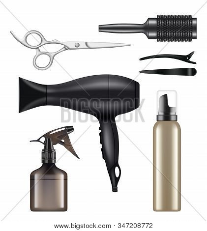 Barber Shop. Hairdressing Tools For Hair Stylist Worker Beauty Dryer Scissors Machine For Shaving Ve