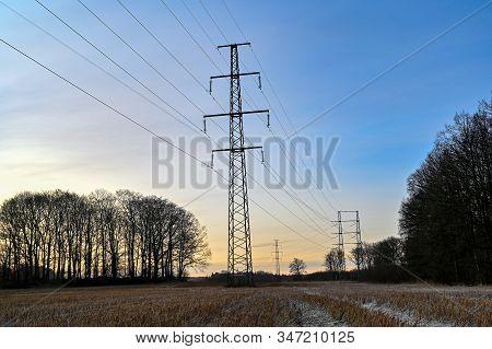 Power Line Through Field In Kumla Sweden