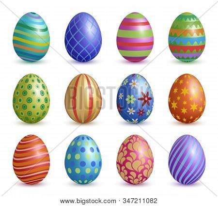 Easter Eggs. Colored Floral Graphic Decoration For Easter Celebration Symbols Vector Realistic Eggs