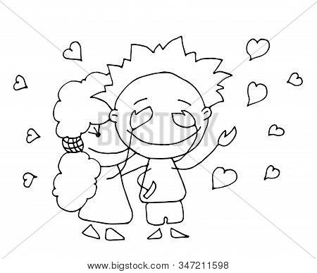 Coloring Book For Kids - Smiling Girl Closed His Eyes With Her Palms. Guess Who? Be My Valentine. Va