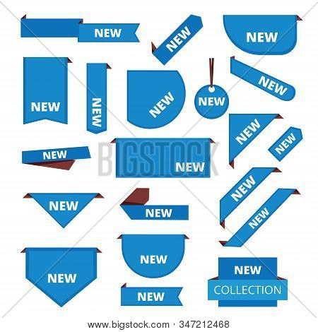 Corner Labels. Promotional Sticker Tab Bar For Merchandise Market Sales Tags New Information Vector