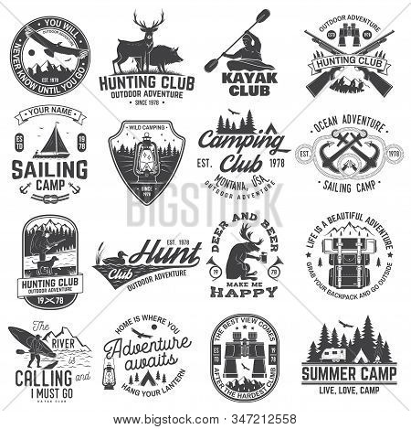 Summer Camp, Hunting Club, Sailing Camp, Yacht Club, Canoe And Kayak Club Badges. Vector. Concept Fo
