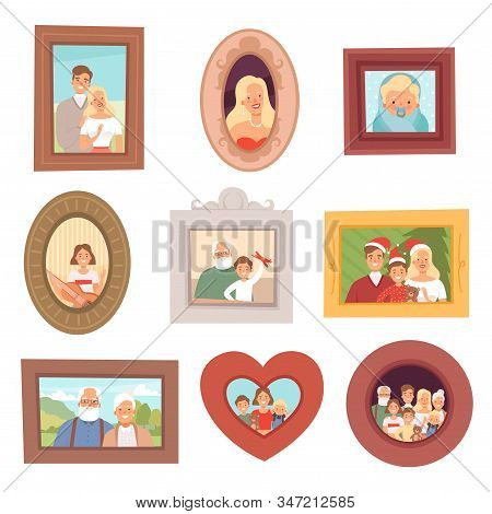 Family Portraits. Photos Of Kids And Parents Mother Father And Grandparents Happy Smile Faces Vector
