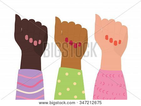 Three Female Hands In Colorful Blouses Are Raised Up. Women Of Different Nationalities Together. Con