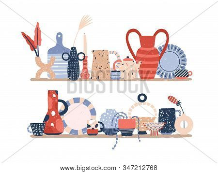 Handmade Decor Porcelain On Rack Vector Flat Illustration. Hand Drawn Modern Pottery Product Of Cera