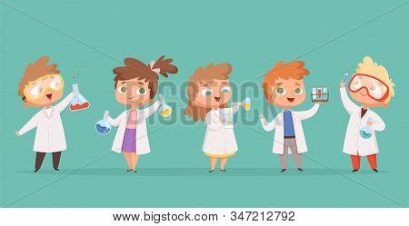 Chemistry Kids. Science Children School Characters In Lab Vector Cartoon People. School Lab And Stud
