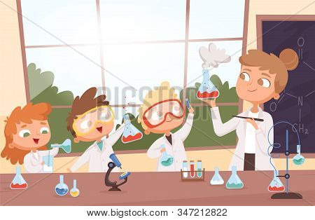 Chemistry Lesson. Little Science Kids Boys And Girls Making Researching Tests In School Lab Vector B