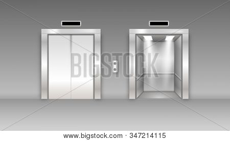 Chrome Metal Office Building Elevator Doors. Open And Closed Variant. Realistic 3d Detailed Elevator