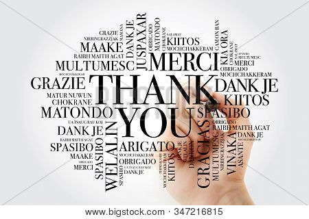 Thank You Word Cloud In All Languages With Marker, Concept Background