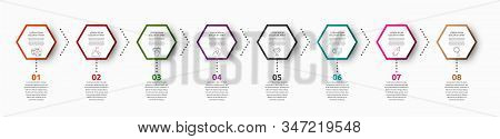 Vector Infographic With 8 Hexagons. Used For Eight Diagrams, Graph, Flowchart, Timeline, Marketing,