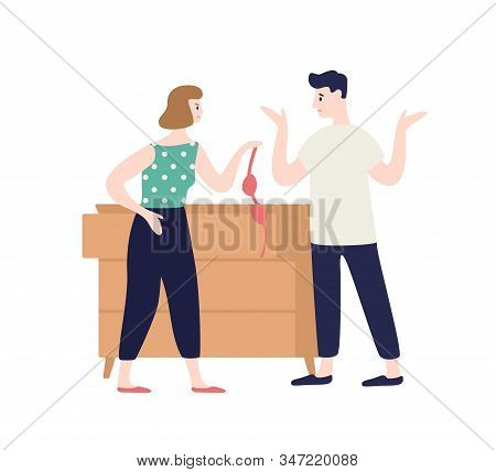 Irritated Woman Holding Lingerie Incriminating At Treason Of Male Vector Flat Illustration. Frustrat