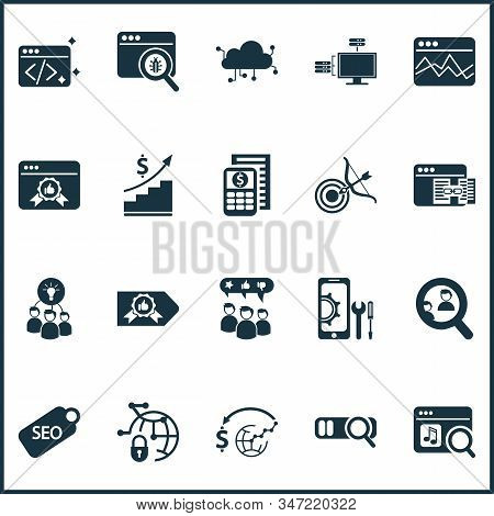 Analytics Icons Set With Search Engine, Page Rank Badge, Competitor Analysis And Other Find Elements