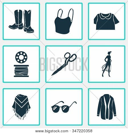Fashion Design Icons Set With Cowboy Boots, Sunglasses, Cardigan And Other Eyeglasses Elements. Isol