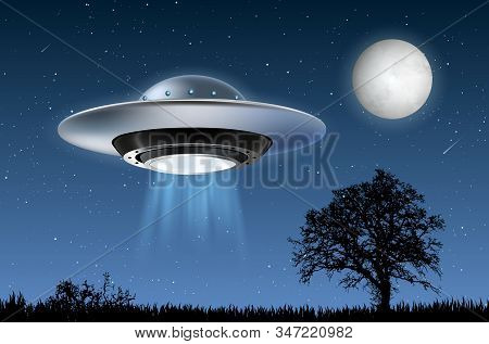 Unidentified Flying Object - Ufo, Starry Night Sky, Moon And Silhouettes Of Grass And Tree. Vector I