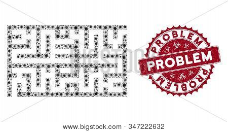 Coronavirus Mosaic Labyrinth Icon And Round Rubber Stamp Seal With Problem Text. Mosaic Vector Is Cr