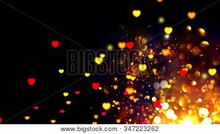 Valentine Hearts Abstract blinking Background. St. Valentine's Day Wallpaper. Beautiful Heart Holiday blurred Backdrop, Golden Valentine glowing hearts background, isolated on black