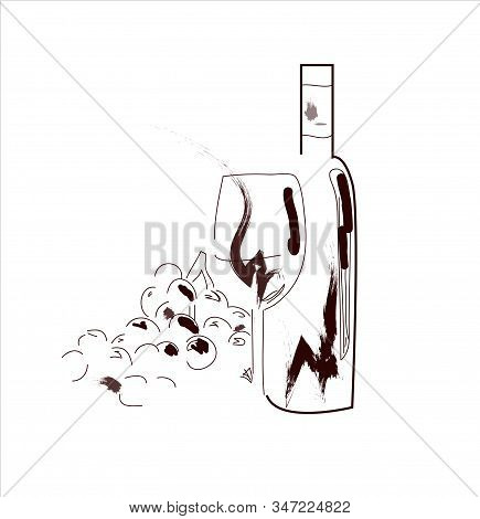 Hand Drawn Ink Sketch Of Wine Glasses With Red Watercolor Stains And Grape Berries. Illustration For