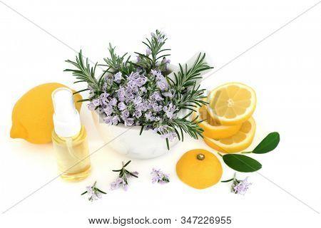 Rosemary herb & lemon vegan skin care beauty treatment with moisturising oil on white background. Anti ageing benefits & helps to reduce environmental skin damage.