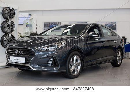 Russia, Izhevsk - January 23, 2020: New Modern Sonata Car In The Hyundai Showroom. Famous World Bran