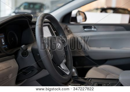 Russia, Izhevsk - January 23, 2020: Hyundai Showroom. Interior Of New Modern Sonata With Automatic T