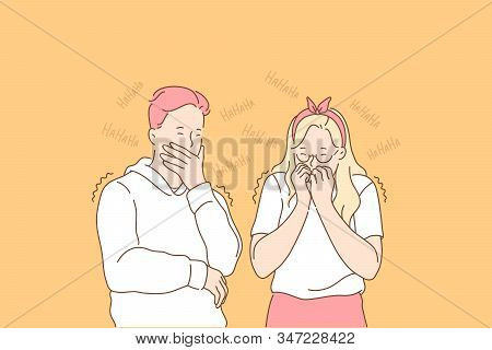 Gossip, Hypocrisy, Giggle Set Concept. Hypocitical Man And Woman Heard Gossip And Giggle On It. Humo