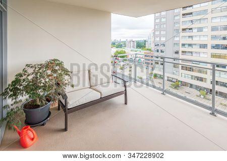 Empty balcony or veranda in a modern house or apartment.