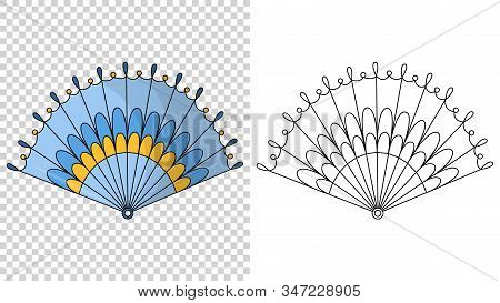 Asian Fans. Colored Hand Traditional Fan Isolated On Transparent Background, Paper Folding Painting