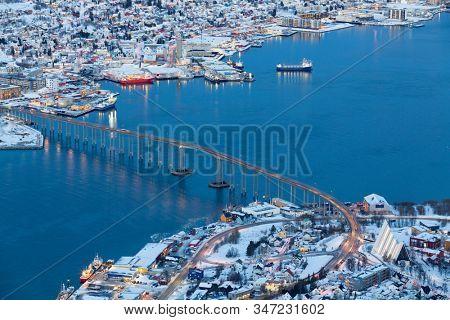 Aerial view on Tromso, Norway, Tromso At Winter Time, Christmas in Tromso, Norway