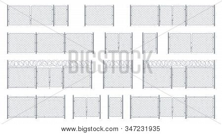 Set Of Isolated Chain Link Fences With Barbed Wires And Chainlink, Entrance Or Gate, Cage Wicket. Ba