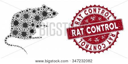 Coronavirus Mosaic Rat Icon And Round Grunge Stamp Seal With Rat Control Caption. Mosaic Vector Is F