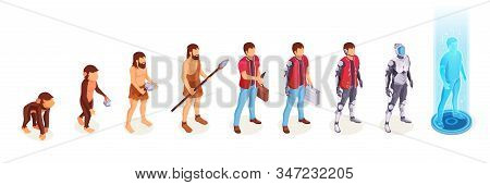 Human Evolution Of Man From Ape Monkey To Digital World Technology, Life Development Process Vector