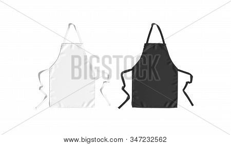 Blank Black And White Apron With Strap Mockup Set, Top View, 3d Renderong. Empty Cooking Protection