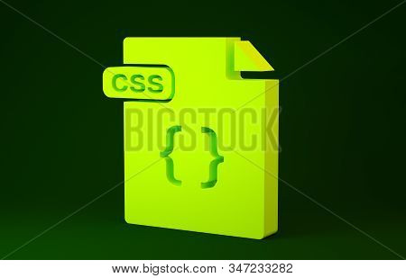 Yellow Css File Document. Download Css Button Icon Isolated On Green Background. Css File Symbol. Mi