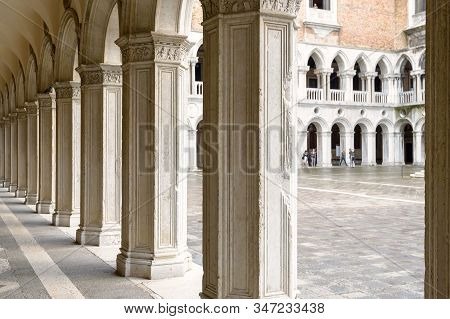 Venice - May 20, 2017: Doge`s Palace Or Palazzo Ducale In Venice, Italy. It Is Famous Landmark Of Ve