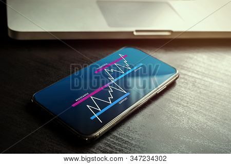 Support And Resistance Levels - Stock, Forex Or Cryptocurrency Market Volatility Concept. Smartphone