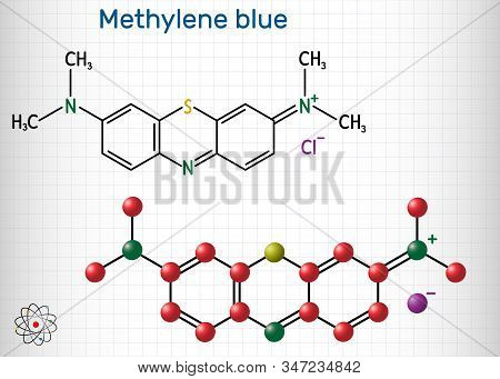 Methylene Blue, Methylthioninium Chloride, C16h18cln3s Molecule. It Is Used To Treat To Treat Methem