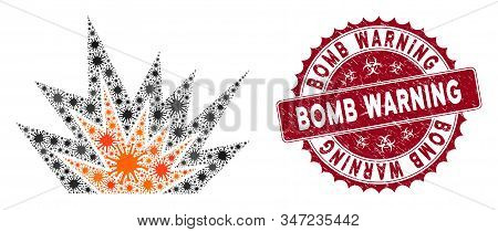 Coronavirus Mosaic Explosion Boom Icon And Round Rubber Stamp Seal With Bomb Warning Caption. Mosaic
